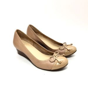 Cole Haan Nude Patent & Leather Wedge Pumps w/ Bow